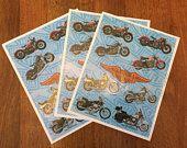 27 Vintage Harley-Davidson Stickers / 3 full sheets / 1996 Hallmark / Official Harley Merchandise / scrapbook, junk journal, mixed media art