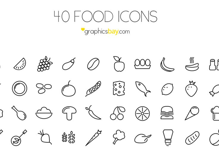 40 Food Icons by Graphics Bay Team in 30 Free Flat Icon Sets for Web Designers