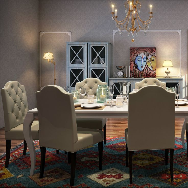 Invite guests to a perfectly luxurious dining experience button tufted dining chairs colourful rug lavish