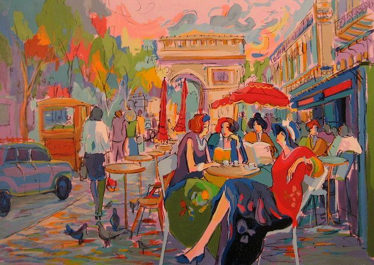 Атмосфера парижских кафе... Художник Айзек Мэймон   art gallery TABOO   btsov.ru