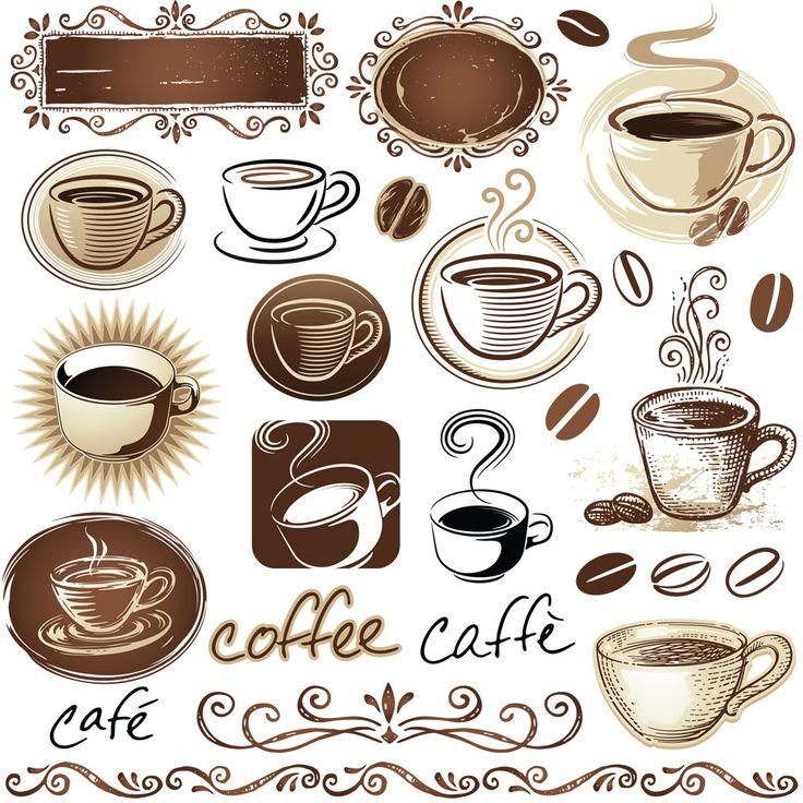 Кофе и кофейные зерна в векторе. Чашка с кофе. Кофейный набор. Векторные вывески и заготовки для оформления меню кофейни.