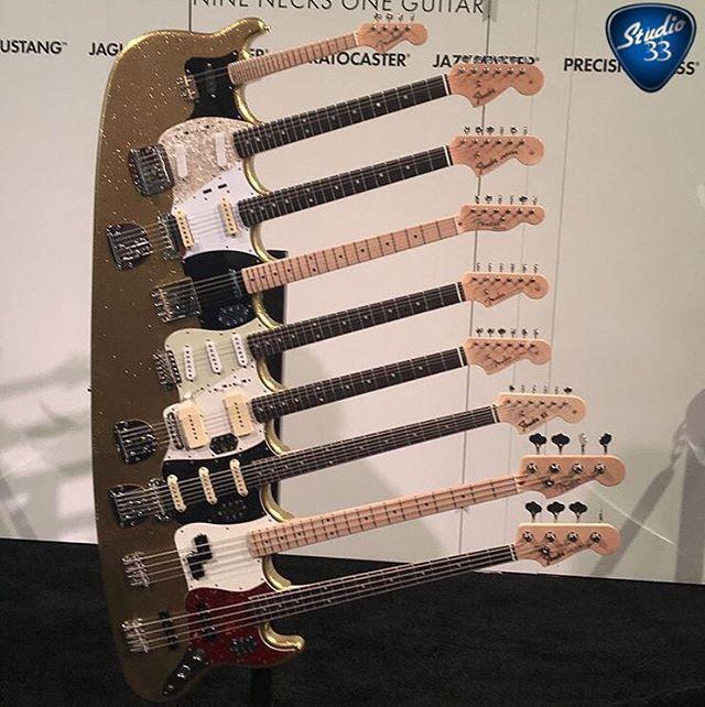 What should #Fender call this 9 neck beast? It's a #Mandolin #Mustang #Jaguar #Telecaster #Stratocaster #Jazzmaster #BassVI #Precision and #Jazzbass #guitar #studio33guitar