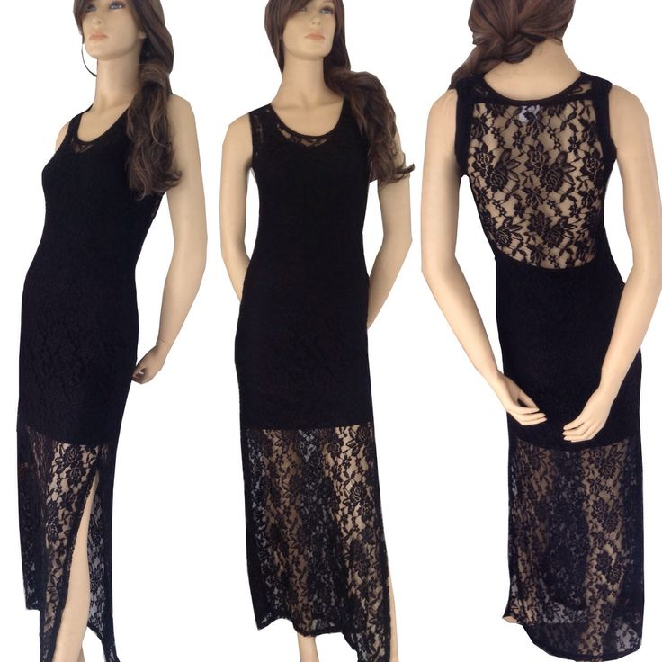 Maxi lace dress. Sheer with separate lining