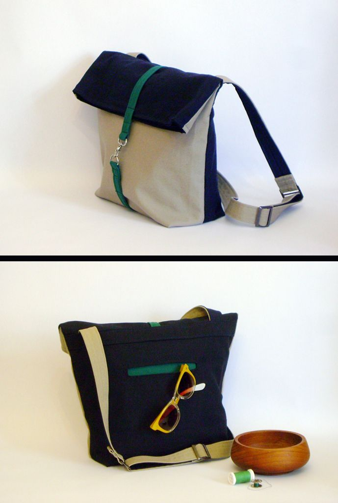 Foldover Messenger bag handmade bag, 28x37 cm