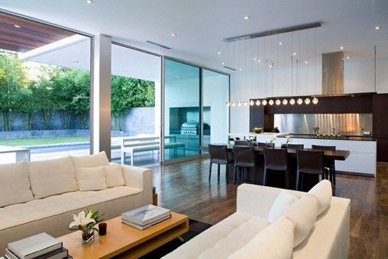 Gorgeous! Love the light fixture :) Simple Modern House With Amazingly Comfy Interior | DigsDigs