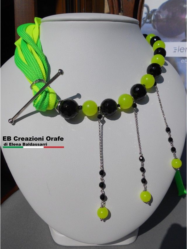 Collana EB...in Fluo girocollo giallo e verde