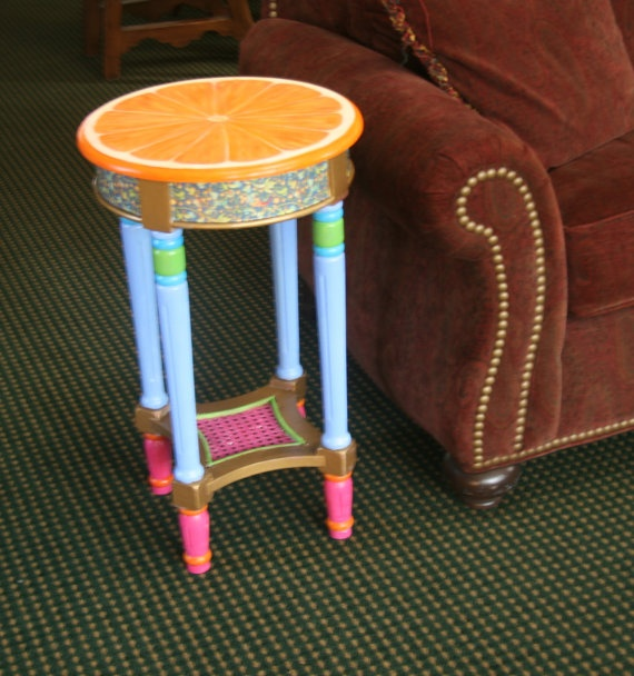 Hand Painted Orange End Table with Blue Florentine by JaneSuzanne, $390.00