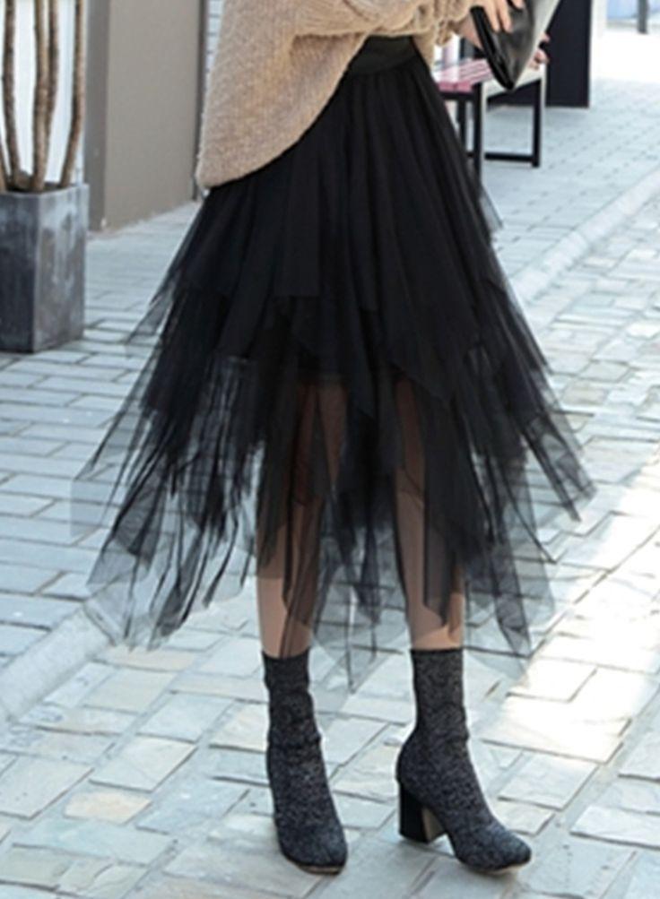 d42a00362467d0 Fashion High Waist Irregular Layered Midi Mesh Skirt - OASAP.com ...