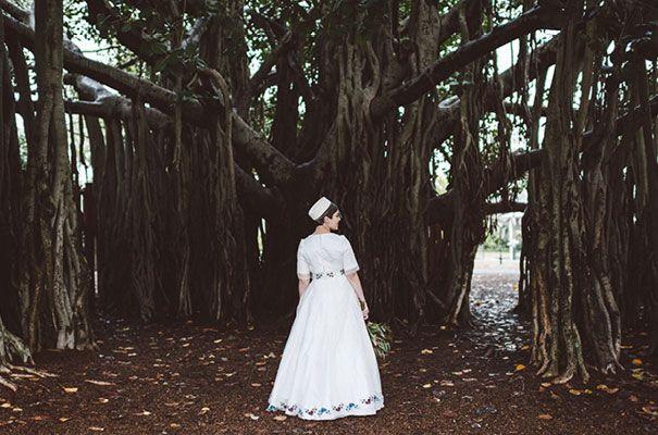 ELLENE + JAMES // #bridalgown #sleeves #hat #embroidery #custommade #inspiration #unique #bride #wedding #dress