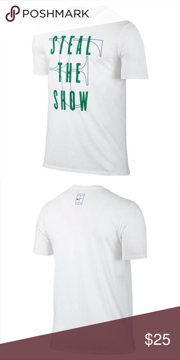 """ROGER FEDERER """"Steal the Show"""" Men's Dri-FIT Tee The Nike Men's Roger Federer Steal The Show Tee is a perfect addition to any tennis player's wardrobe.  Dri-FIT fabric helps keep you dry and comfortable Rib crew neck with interior taping for durability Fabric: Dri-FIT 60% Cotton - 40% polyester Pit to pit: 21""""  New with Tag Nike Shirts Tees - Short Sleeve"""
