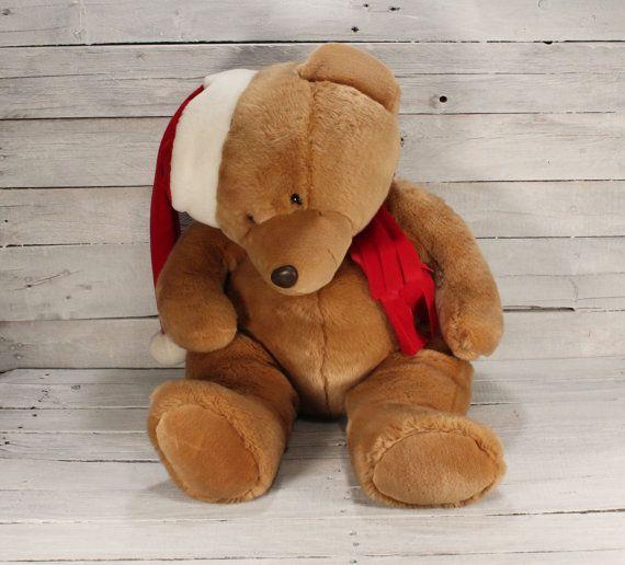 "Vintage Big Brown Teddy Bear Christmas Teddy Bear Kids Toy Bear 28"" Stuffed Animal Bear Big Santa Claus Teddy Bear Sad Bear"