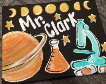 Teacher Door Sign Hanger - Earth Science Teacher Door Sign -  Science teacher Sign -  custom Teacher Sign - moon phase