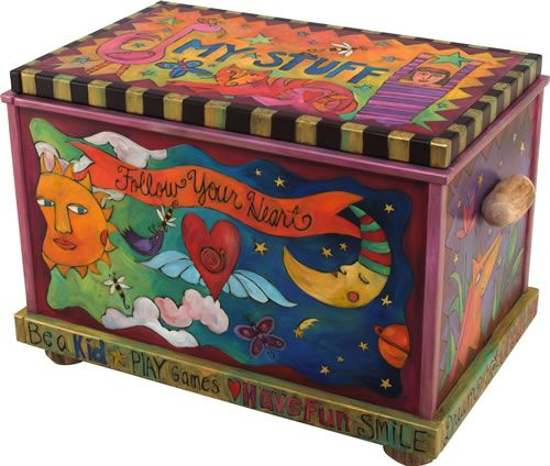 Whimsical, colorful painted chest.  It would make a great toy box.