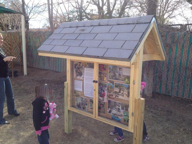 "Seen @ ABQ preschool. Informational ""kiosk board"" for outdoor use."