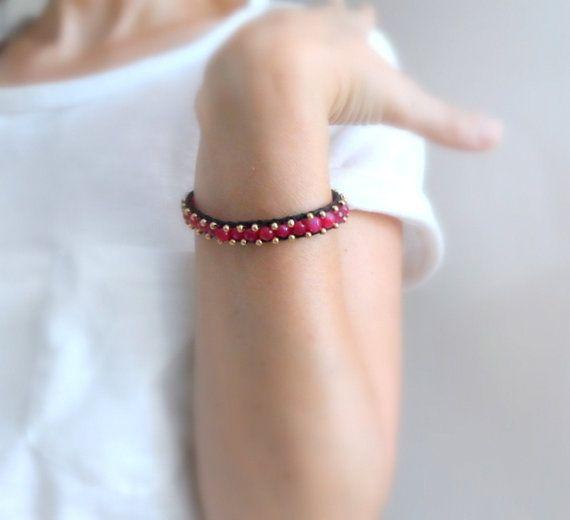 Pink Single Wrap Bracelet on Black Leather Beaded Wrap by byshushu, $30.00
