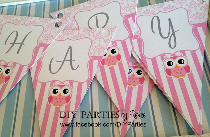 Table bunting - Owl - Pink Stripes & Damask.  Find us on Facebook: www.facebook.com/DIYParties