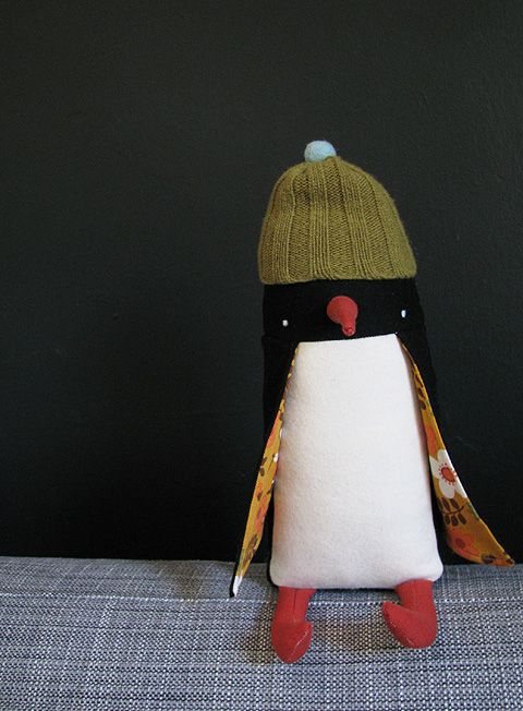 """From the Book """"Hop Skip Jump"""" - with a red hat he'd be the penguin from Oliver Jeffer's  Lost and Found/ Up and Down books"""