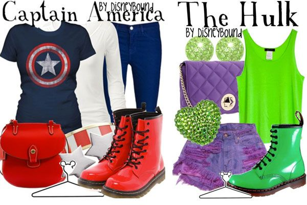 Captain America Shirt, Navy Blue Pants/Shorts, Red High Top Shoes, Lime Green Racer Tank, Purple Pants/Shorts, Green High Top Shoes