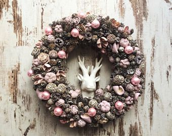 Christmas wreaths xmas door hanger rustic xmas 2017 pastel pink door hanger vintage shabby chic natural dried flowers dried plants
