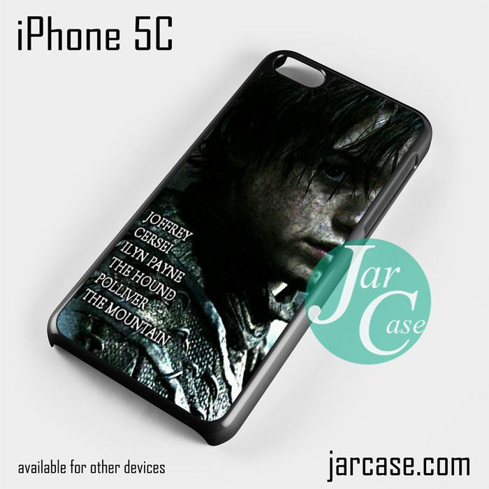 Game of Thrones Arya Killing list Phone case for iPhone 5C and other iPhone devices