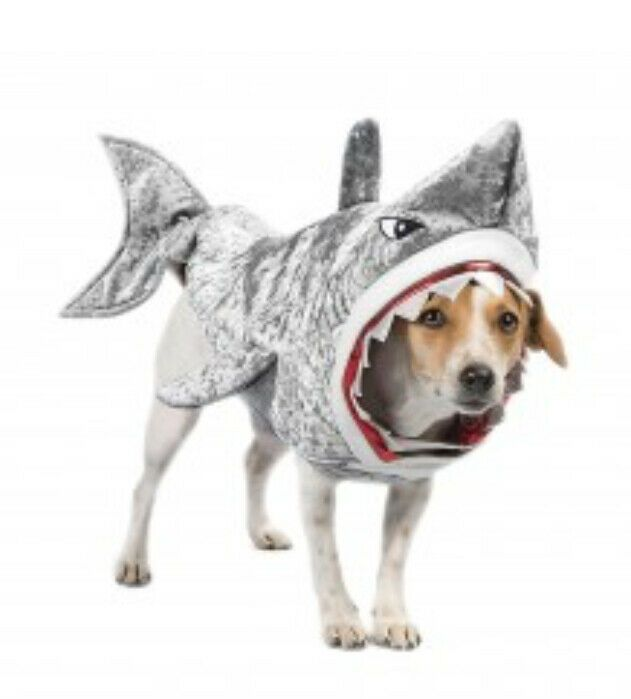 Details About Shark Dog Halloween Pet Costume Silver Large New Us