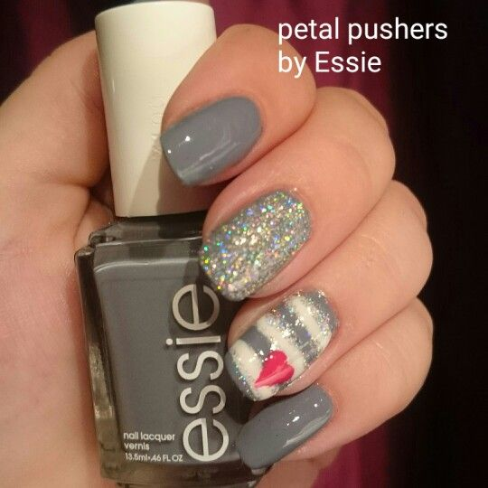 Petal pushers by Essie  Grey nail polish design