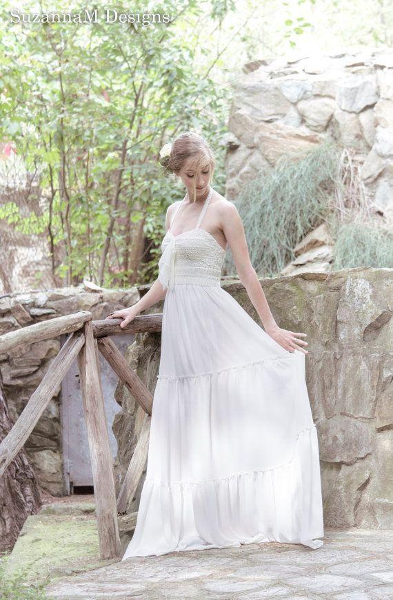 Boho Long Bridal Gown Ivory Long Wedding Dress by SuzannaMDesigns