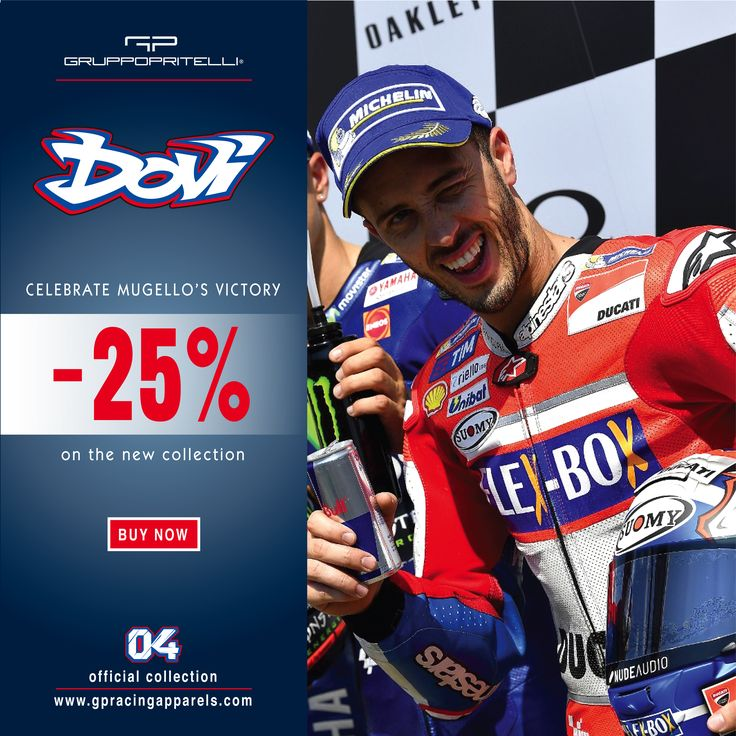 Andrea Dovizioso >> 25% Off on the Official Collection. 7 - 9 June, on GP Racing Apparel