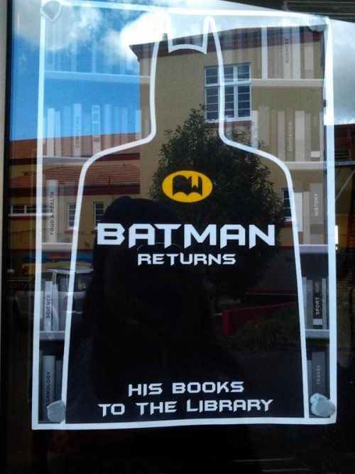 Batman returns... his #books to the library                                                                                                                                                      More