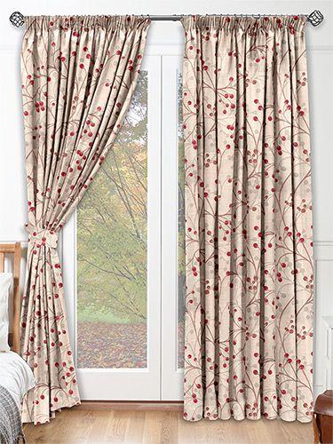 Ophelia Crimson Curtains from Curtains 2go