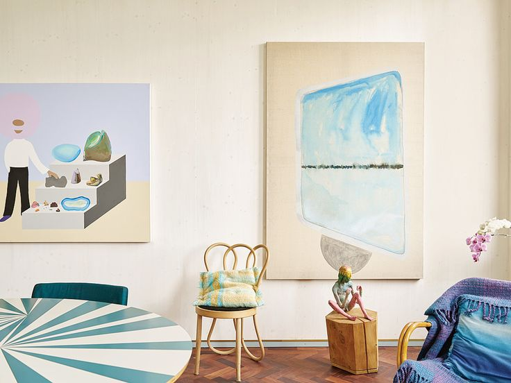 In the living room, Martino Gamper and Francis Upritchard display their own work alongside eclectic paintings by friends like Peter McDonald and Caragh Thuring. (Photo: Nick Ballon)