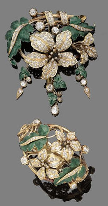 A diamond and enamel brooch and bracelet suite, circa 1860 The brooch designed as a foliate spray set throughout with cushion-shaped and old brilliant-cut diamonds, amongst green guilloché enamel leaves, suspending three cushion-shaped diamond and guilloché enamel pampilles, mounted in gold, together with a bracelet en suite.