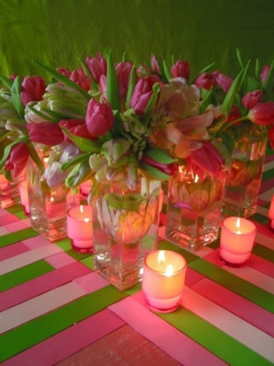 Love the ribbon idea: Tables Sets, Valentine Day, Tables Toppers, Candles Centerpieces, Weddings Decoration, Decoration Idea, Tables Runners, Idea Weddings, Pink Tulip