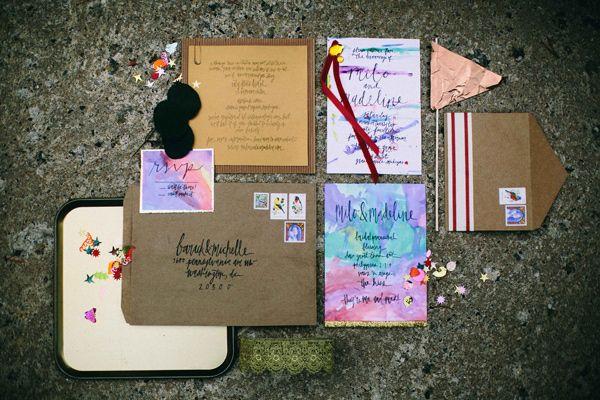 colorful wedding invitations, photo by Alyssa McElheny Photography http://ruffledblog.com/bohemian-luxe-wedding-inspiration #weddinginvitations #stationery