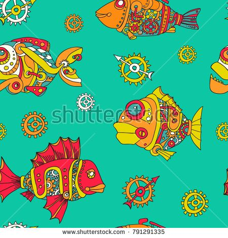 Seamless pattern robot fish painted by hand in vector
