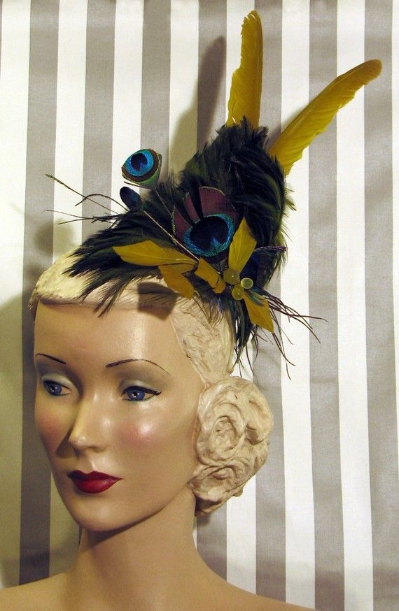 Hey, I found this really awesome Etsy listing at https://www.etsy.com/listing/64866186/fascinator-peacock-feather-party-hat