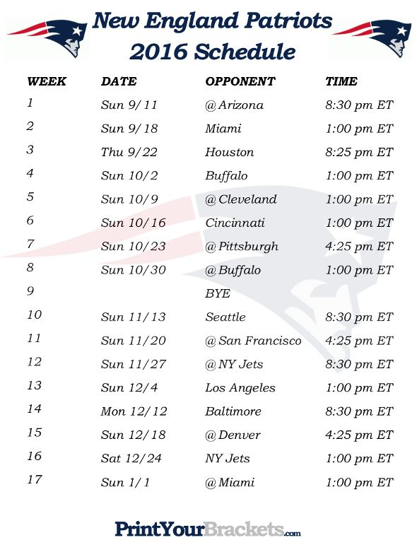 Printable New England Patriots Schedule - 2016 Football Season