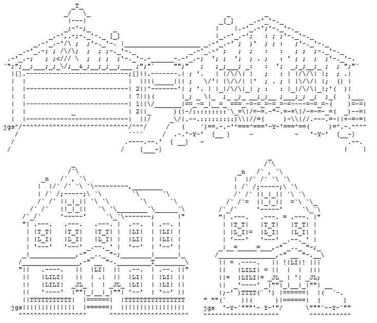 Dibujos de tres casas en ASCII