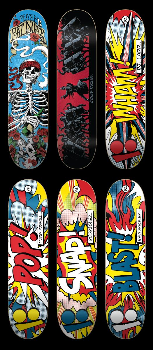 i like the last four skateboards very cool impact boards marvel all the skateboard designskateboard - Skateboard Design Ideas