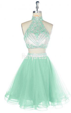 c848935e1fb Mint Short Halter Two Pieces Tulle Crystal Beaded Party Graduation Homecoming  Dress