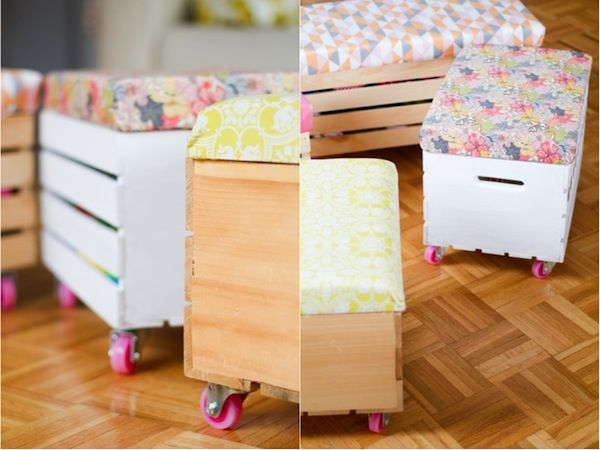Decoracion infantil DIY juguetero hecho con cajas de madera