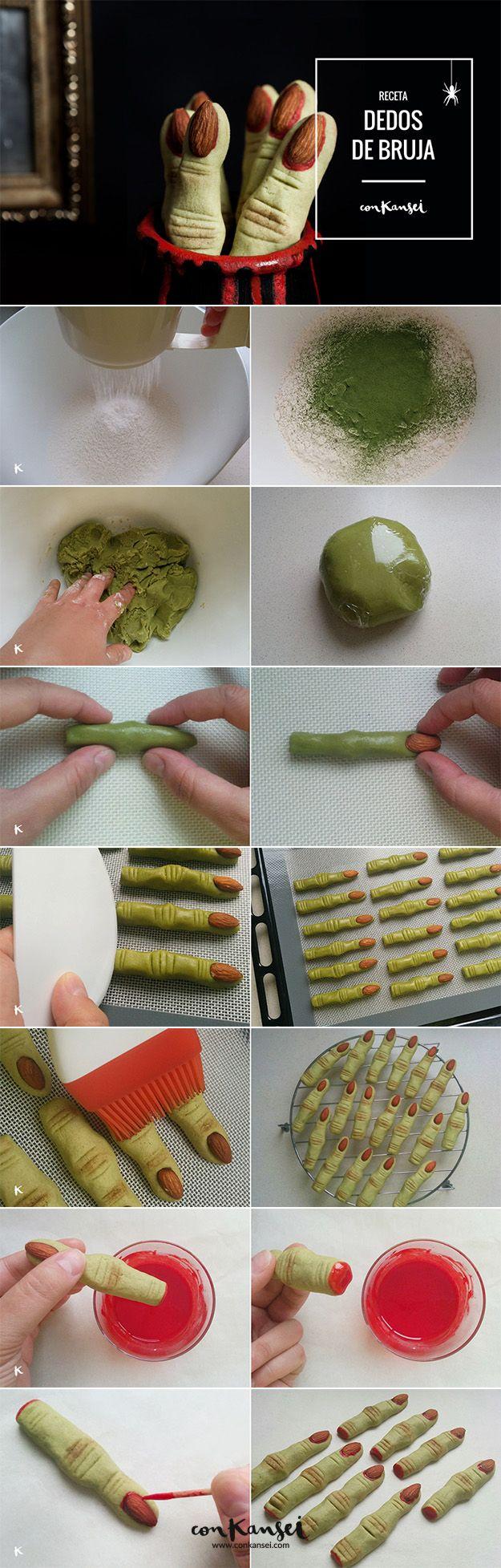 Receta para Halloween: galletas con forma de dedo de bruja. Con té matcha como colorante y almendras como uñas. ¡Geniales!   Conkansei.com