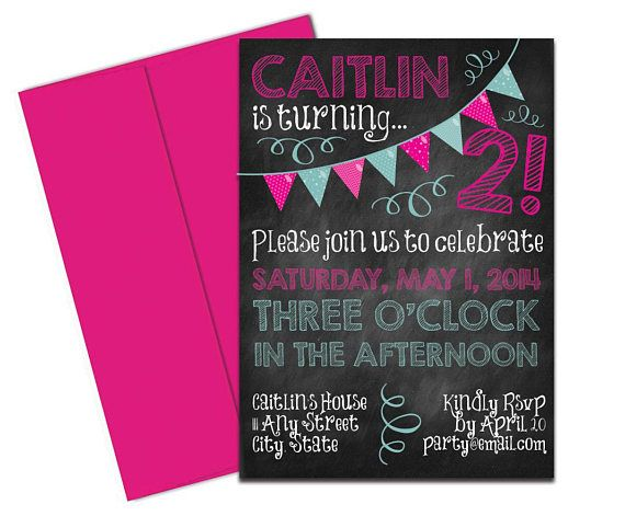 Hot Pink Chalkboard Invitation with Envelopes Printed. Click through to find matching games, favors, thank you cards, inserts, decor, and more. Or shop our 1000+ designs for all of life's journeys. Weddings, birthdays, new babies, anniversaries, and more. Only at Aesthetic Journeys