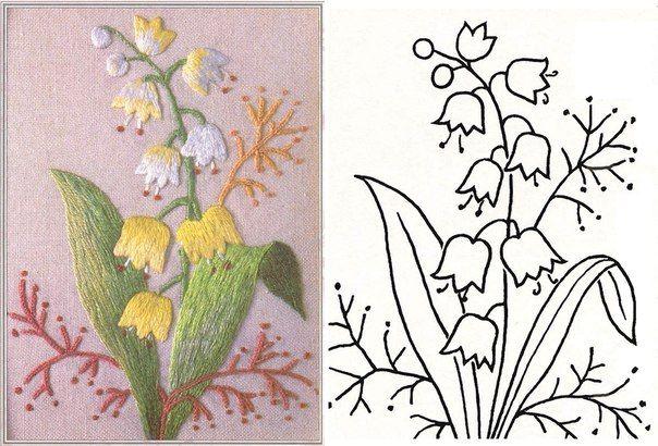 Patrones para bordar flores amarillas bordados