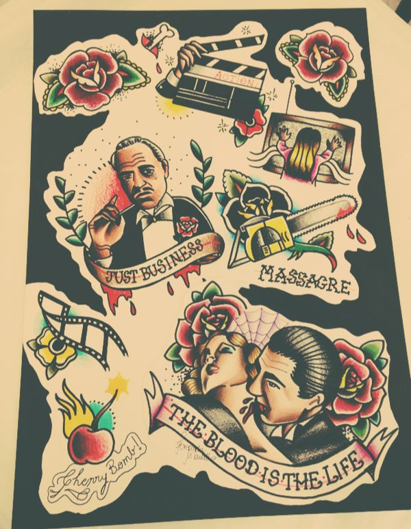 ABOUT PROJECT Old School Tattoo flash, with designs based on films Published: April 01, 2014 Views103 Appreciations11 Comments2 http://bit.l...