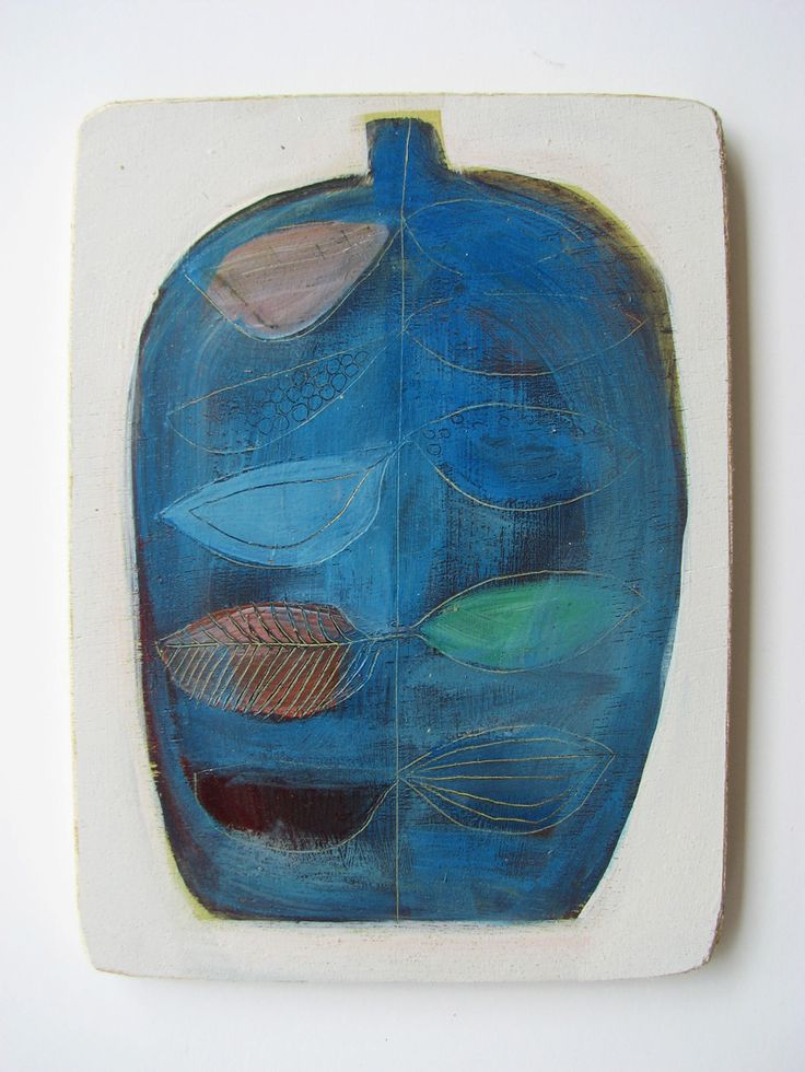 Blue Bottle  by Tiel Seivl-Keevers  acrylic and ink on wood