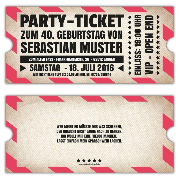 Vintage Einladungskarten Zum Geburtstag Als Ticket Vip | B Day,  Einladungsentwurf