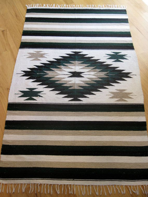 Handwoven Navajo Southwest rug 4 ft x 8 ft flat by ready4mycloseup, $165.00