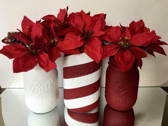 Set of 3 Red and White Mason Jars, Flower Vase, Christmas Decoration, Holiday Decor, Poinsettias, Wedding Centerpiece, Candy Cane, Striped
