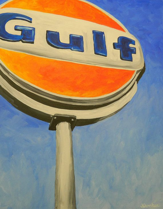 painting of vintage gas station